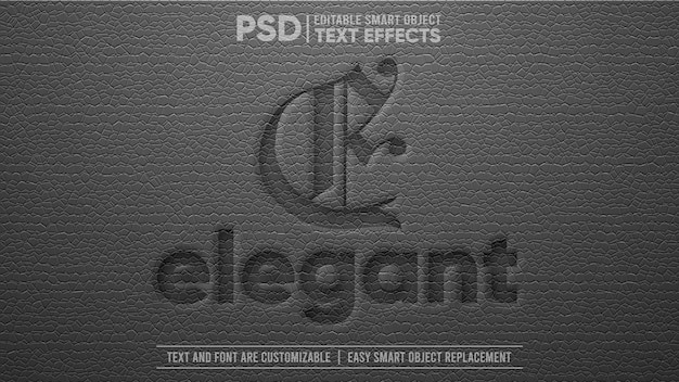 검은색 우아한 가죽 3d 편집 가능한 스마트 개체 텍스트 효과
