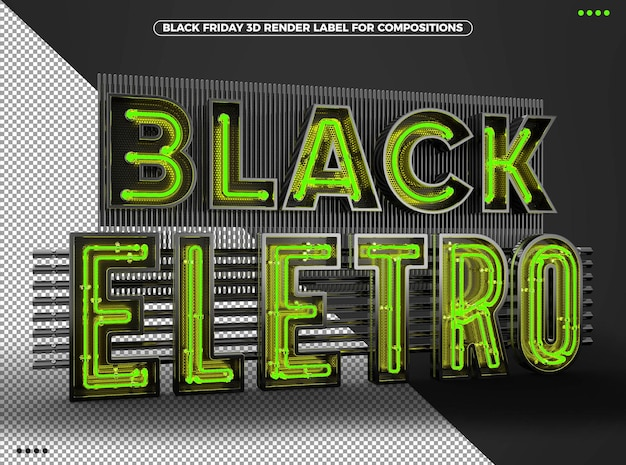3d логотип black eletro с зеленым неоном для композиций