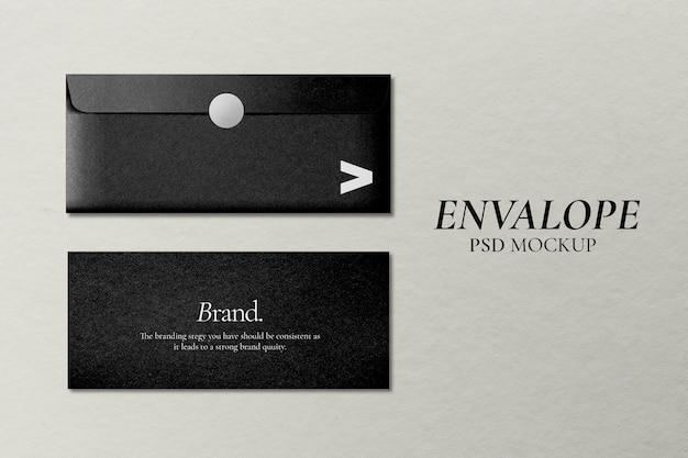Черный конверт, макет, psd, канцелярские товары в минималистском стиле