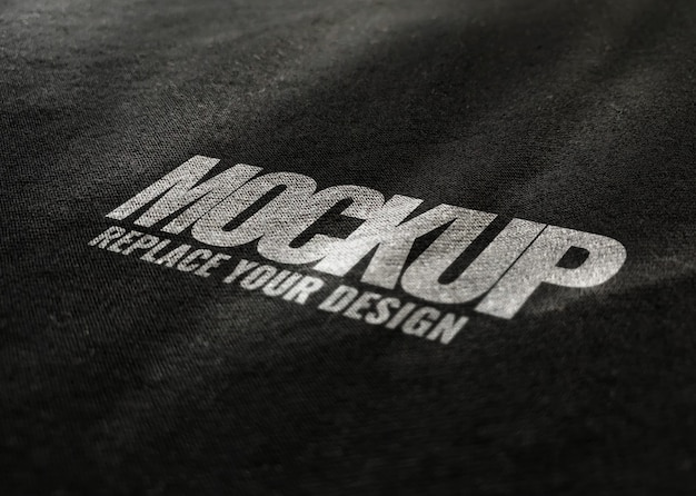 Black fabric mockup logo