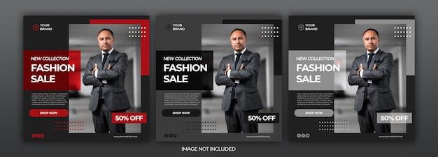 ブラックファッションセールソーシャルメディアinstagramバナーポストテンプレート