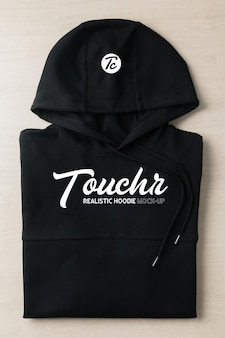 Black folded hoodie sweatshirt long sleeve mockup