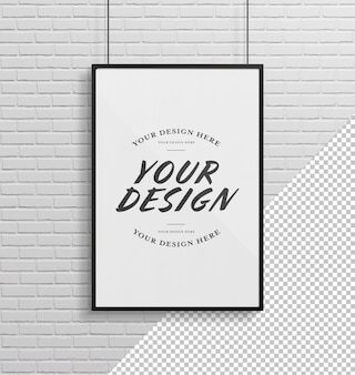 Black frame hanging on a brick wall mockup cut out elements