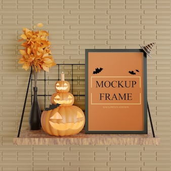 Black frame mockup halloween edition standing on the wall table