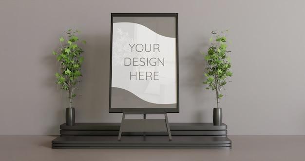 カップルの装飾植物、水平フレームモックアップとイーゼルの黒いフレームモックアップ。