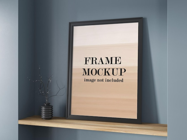 Black frame mockup on shelf