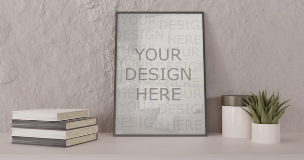 Black frame mockup standing on white table. horizontal frame with books and succulent
