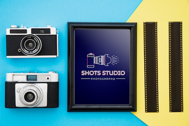 Black frame mockup with photography concept