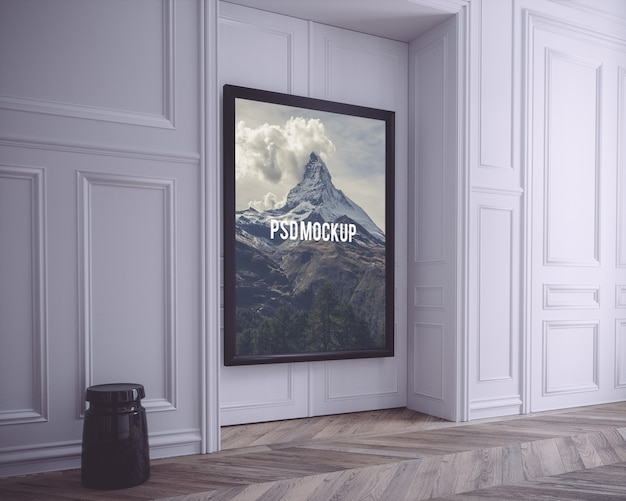 Черная рамка на белой стене макет