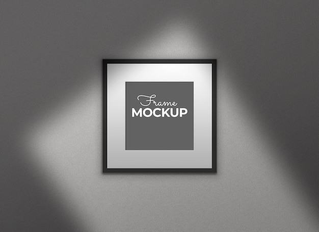 Black frame with shadows mockup
