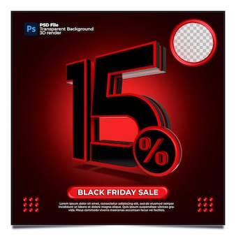 Black friday 15 percentage discount sale 3d render with color red