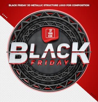 Черная пятница 3d логотип с красной металлической структурой для композиций