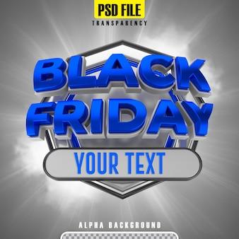 Black friday 3d rendering banner