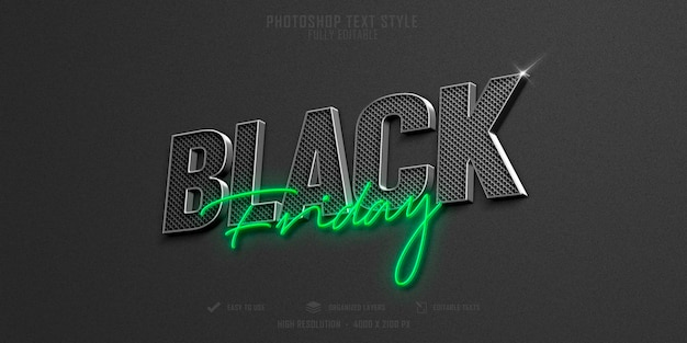 Black friday 3d text style effect template design