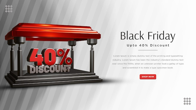 Black friday 40 percent discount banner design