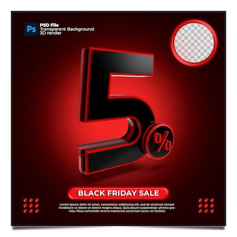 Black friday 5 percentage discount sale 3d render with color red