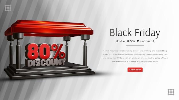 Black friday 80 percent discount banner design
