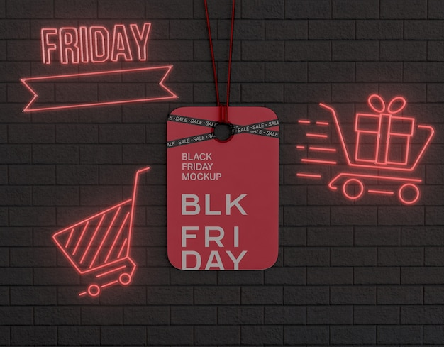 Black friday advertising on hanging tag mockup