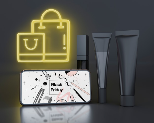 Black friday background with neon lights