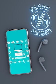 Black friday background with phone mock-up