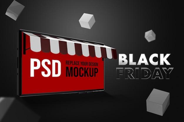 Black friday bag shopping mockup design 3d illustration