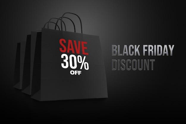 Black friday bag shopping mockup design