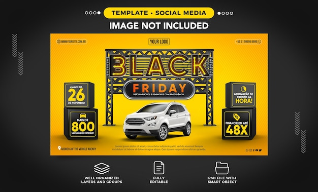 Black friday banner at an agency with great car deals in brazil