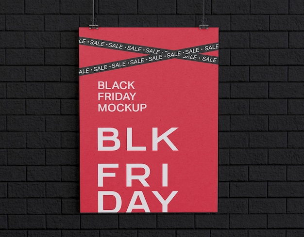 Black friday banner on black wall mockup
