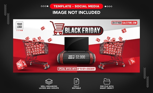 Black friday banner concept with special offers for products with up to 50 of