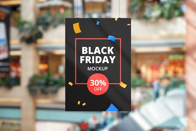 Black friday banner mockup in shopping mall