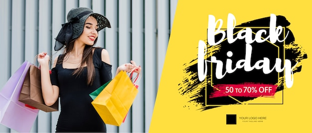 Black friday banner mockup with image