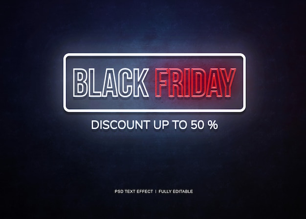 Black friday banner neon text effect