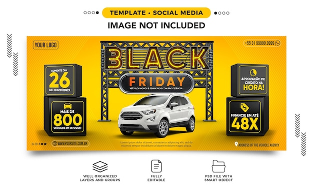 Black friday banner template at an agency with great car deals in brazil