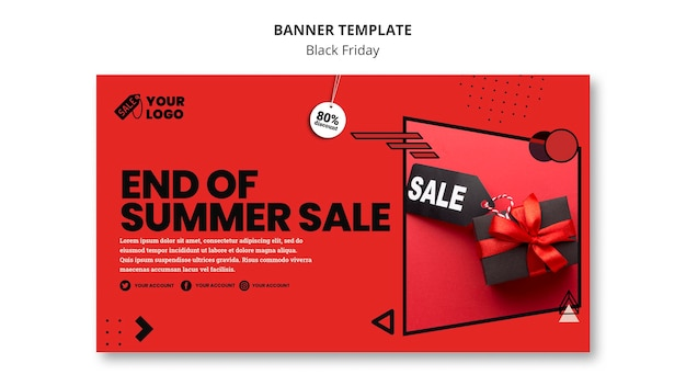 Black friday banner template with photo