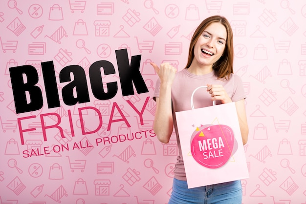 Black friday banner with beautiful woman