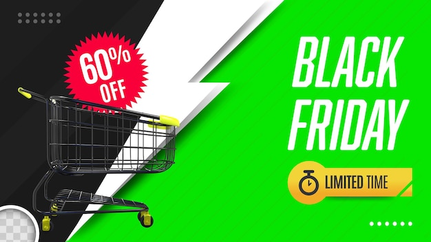 Black friday banner with shopping cart 3d rendering