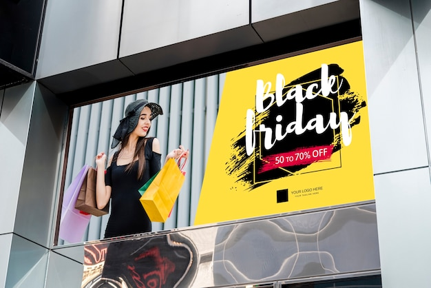 Black friday billboard on building