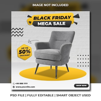 Black friday chair discount social media post square instagram template