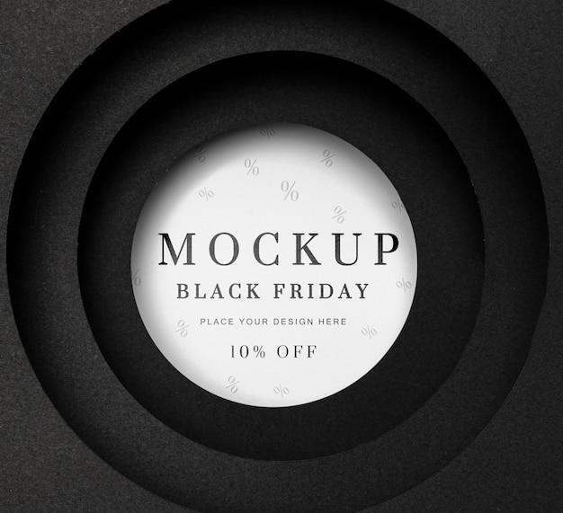 Черная пятница круглый белый макет