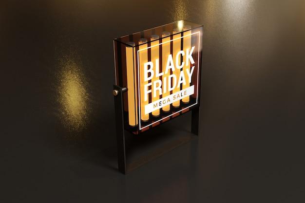 검은 금요일 개념 라이트 박스 모형