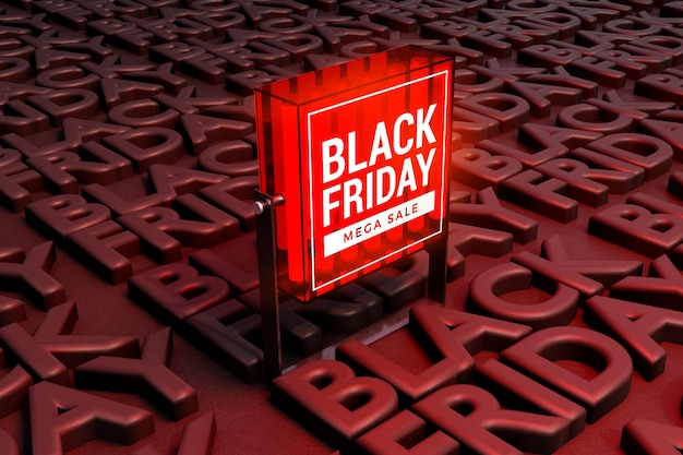 Black friday concept light box mockup