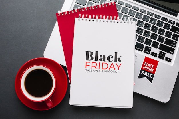 Black friday concept mock-up on black background