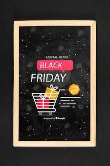 Black friday concept mock-up on black background