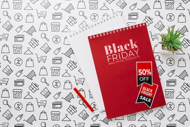 Black friday concept mock-up with notebook