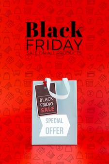 Black friday concept mock-up with red background