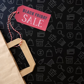 Black friday concept with black background Free Psd