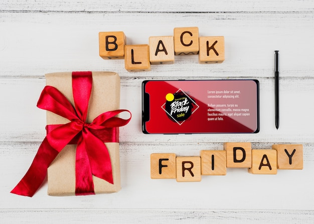 Black friday concept with mock-up smartphone