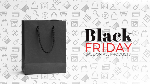 Black friday concept with plain background Free Psd