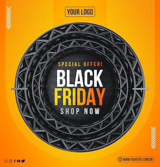Black friday concept with realistic background Premium Psd