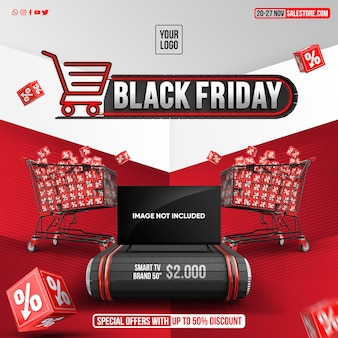 Black friday concept with special offers for products up to 50 off